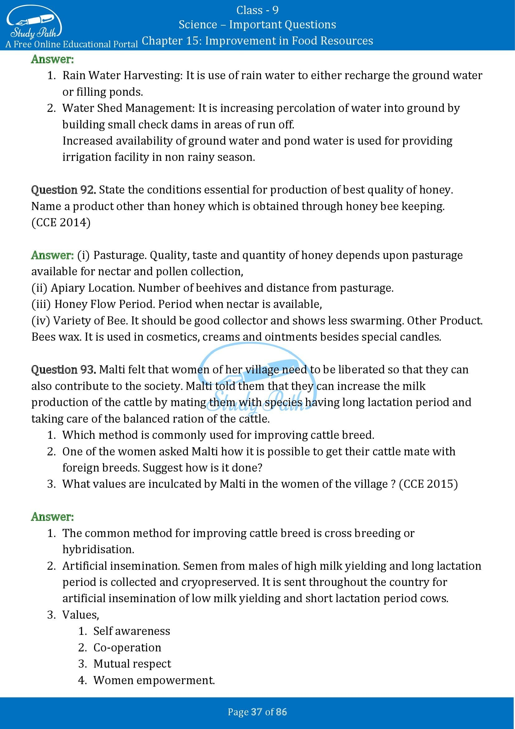 Important Questions for Class 9 Science Chapter 15 Improvement in Food Resources 00037