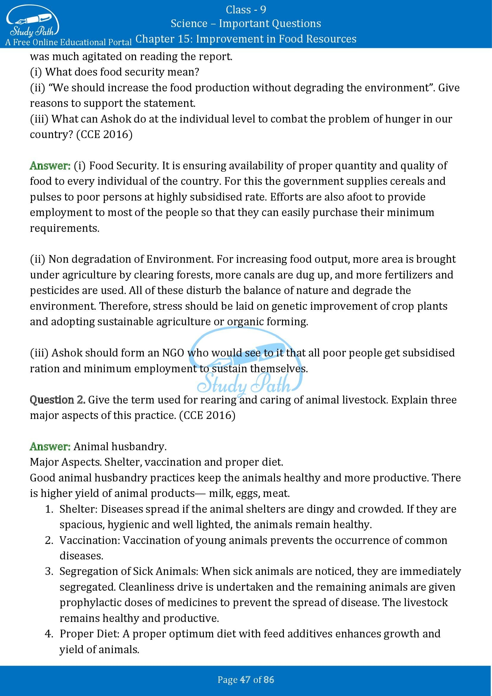Important Questions for Class 9 Science Chapter 15 Improvement in Food Resources 00047