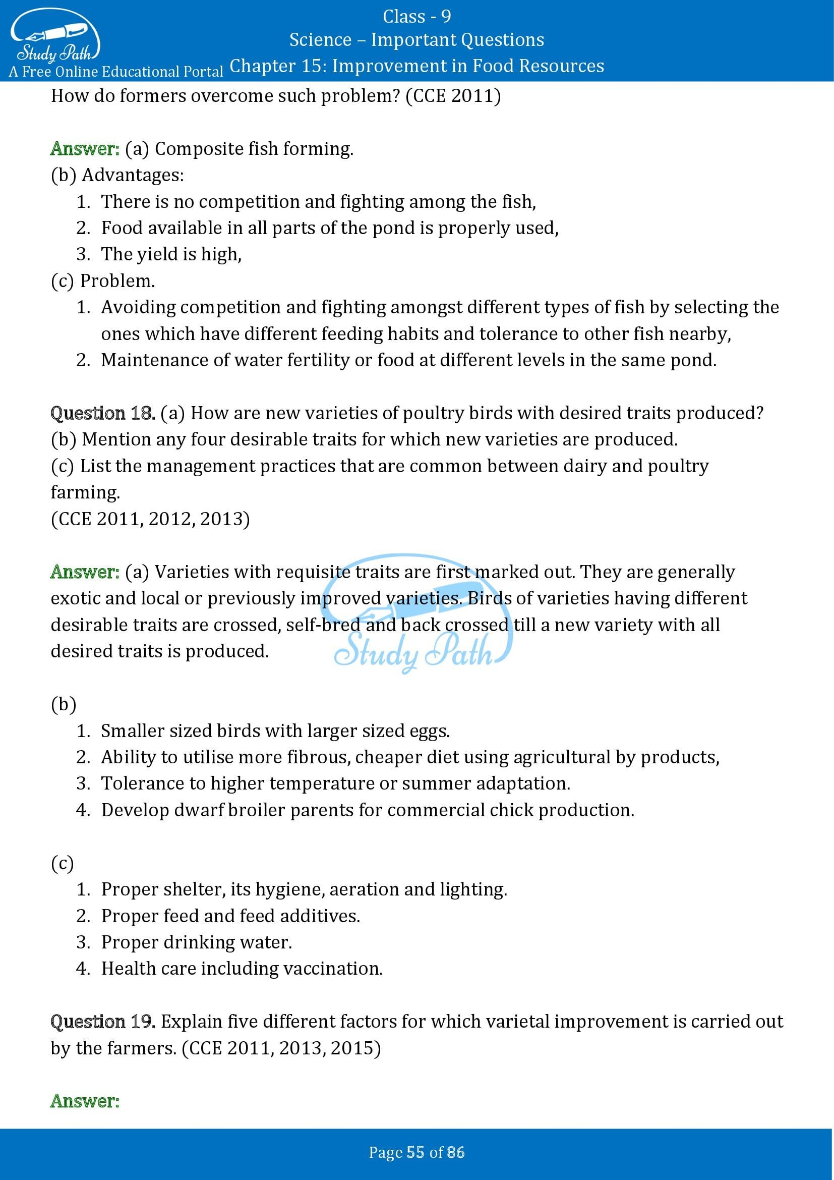 Important Questions for Class 9 Science Chapter 15 Improvement in Food Resources 00055