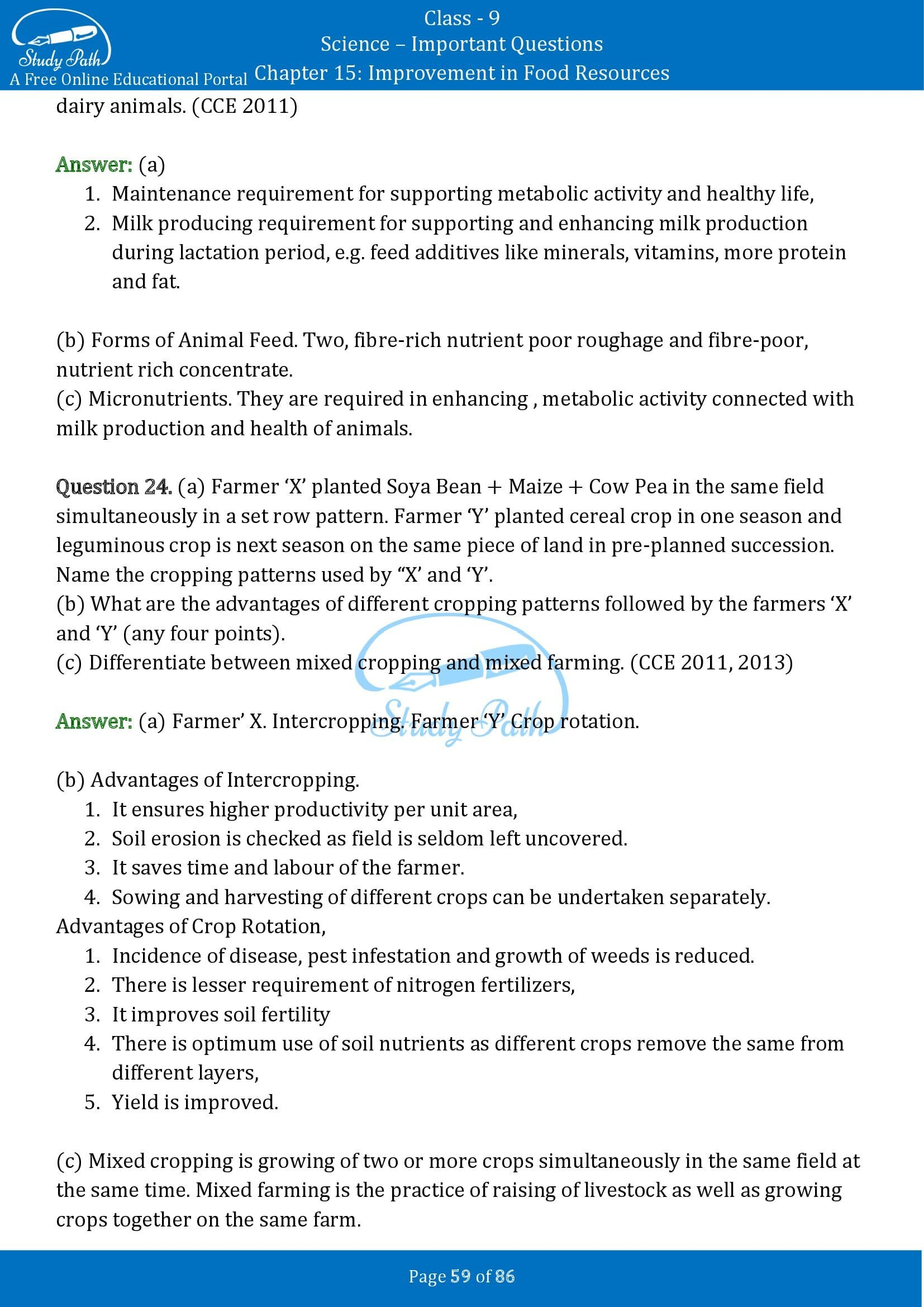 Important Questions for Class 9 Science Chapter 15 Improvement in Food Resources 00059