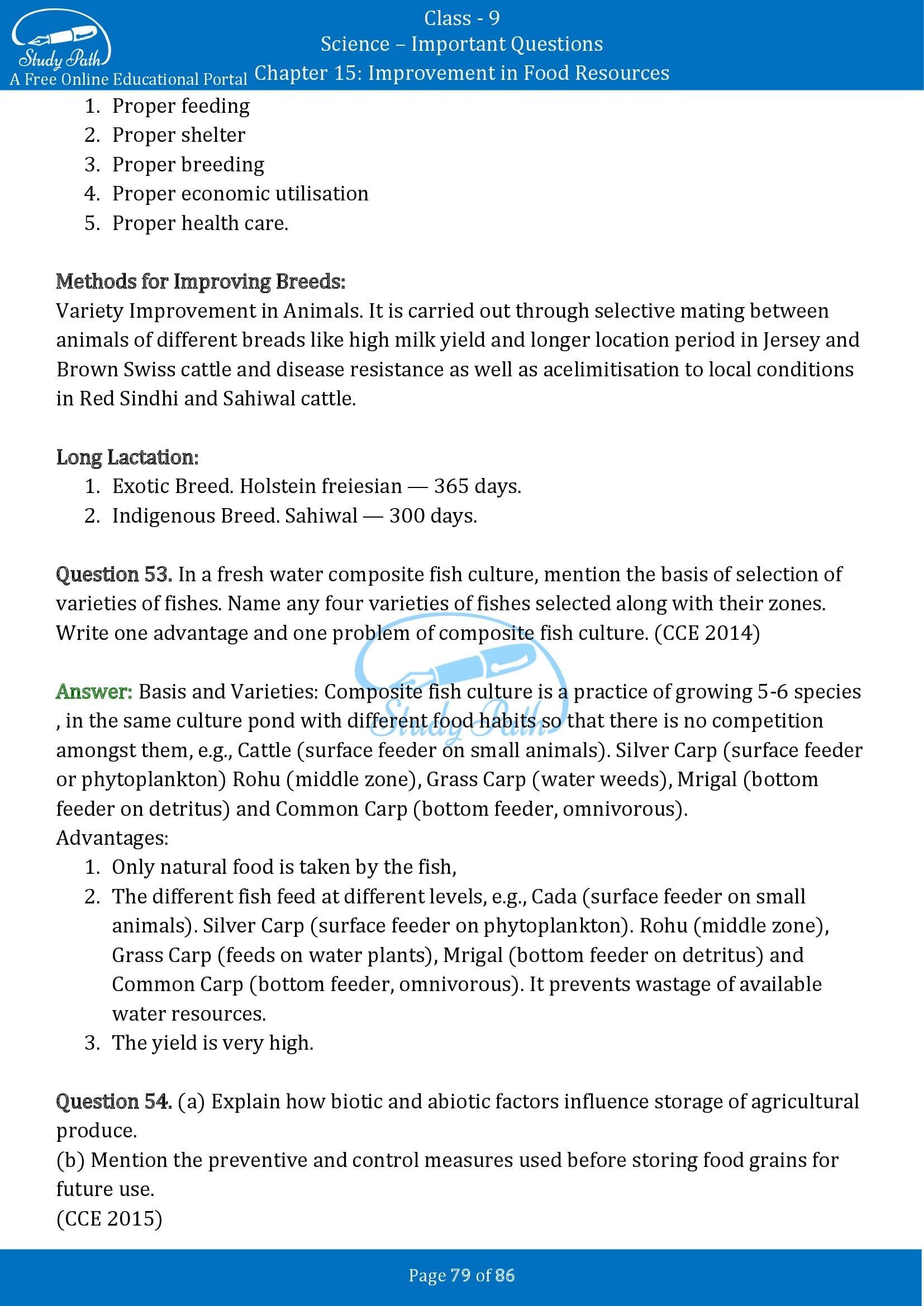 Important Questions for Class 9 Science Chapter 15 Improvement in Food Resources 00079