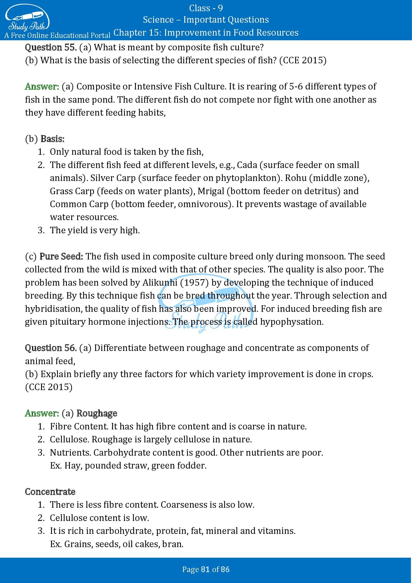 Important Questions for Class 9 Science Chapter 15 Improvement in Food Resources 00081