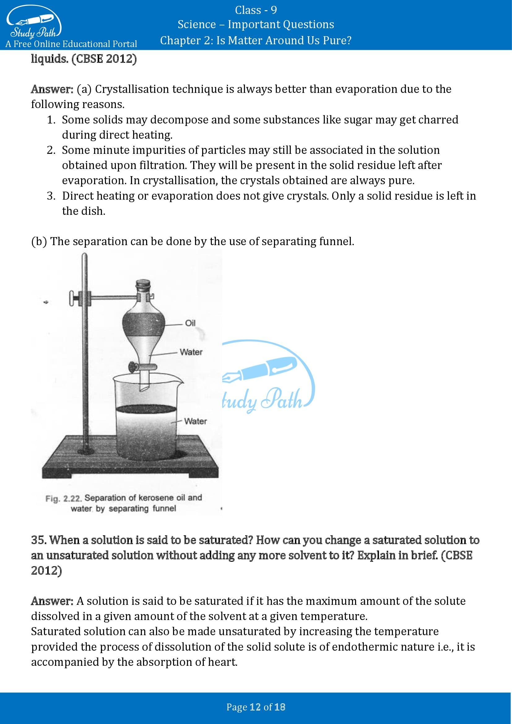 Important Questions for Class 9 Science Chapter 2 Is Matter Around Us Pure 00012