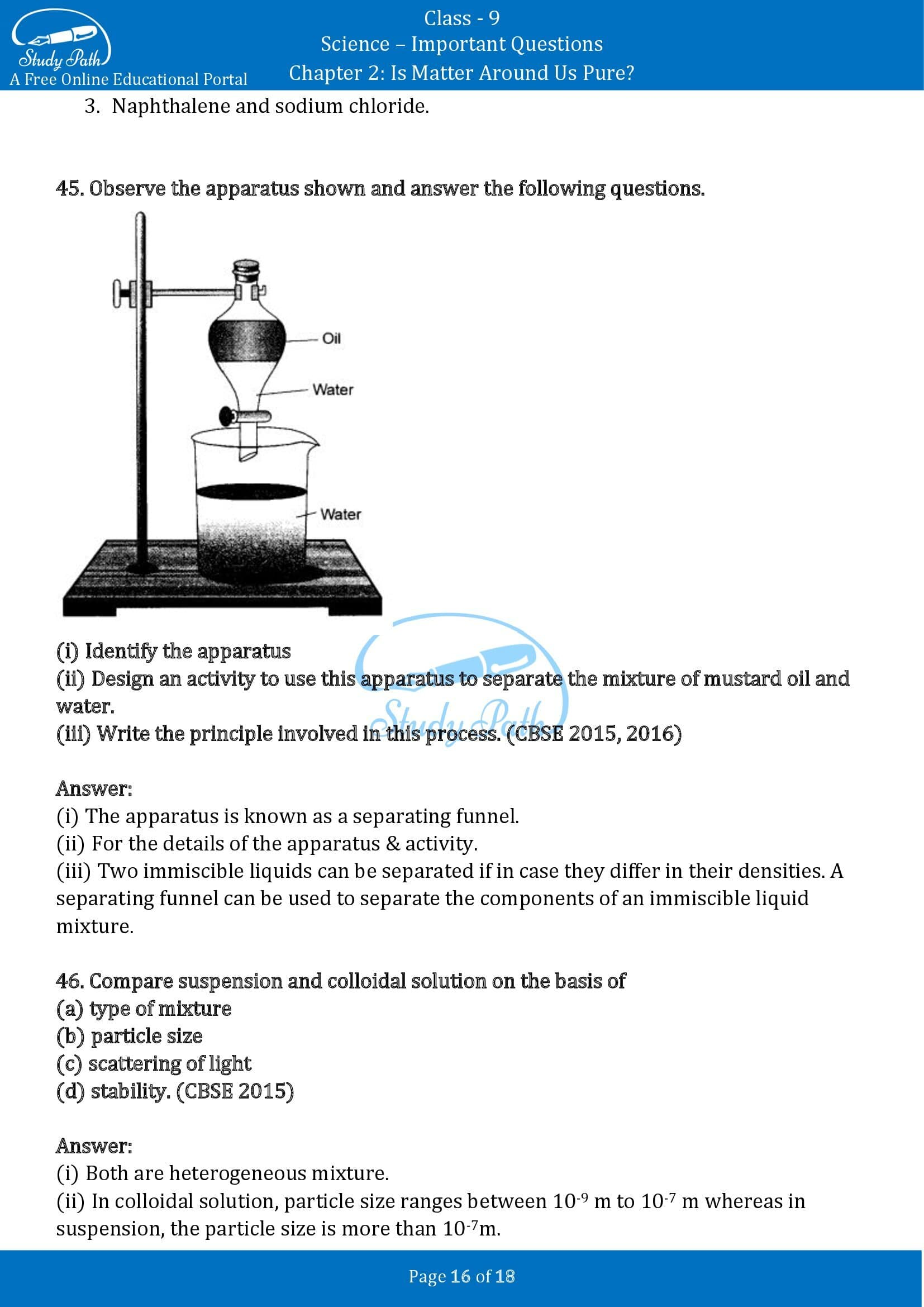 Important Questions for Class 9 Science Chapter 2 Is Matter Around Us Pure 00016