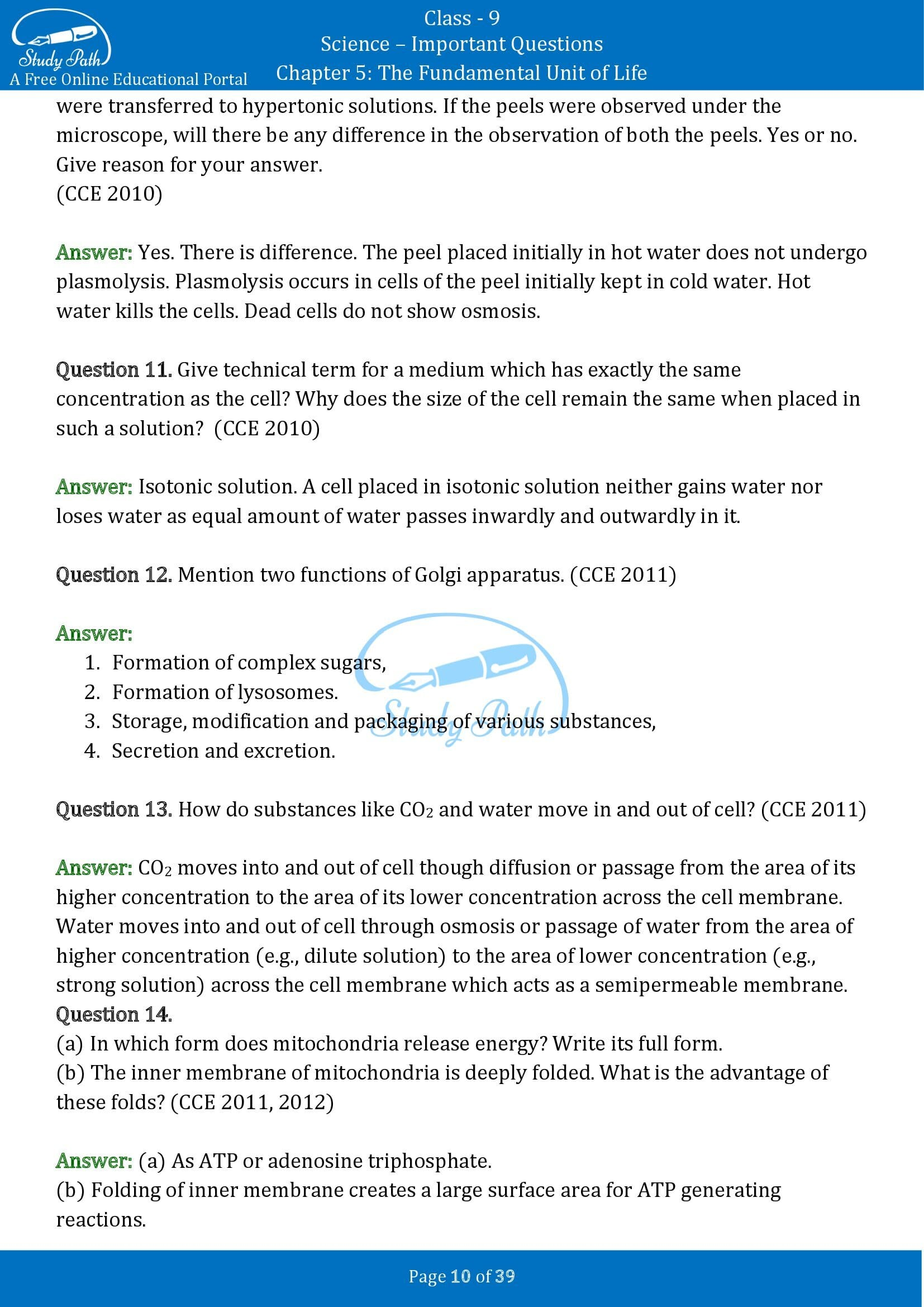 Important Questions for Class 9 Science Chapter 5 The Fundamental Unit of Life 00010
