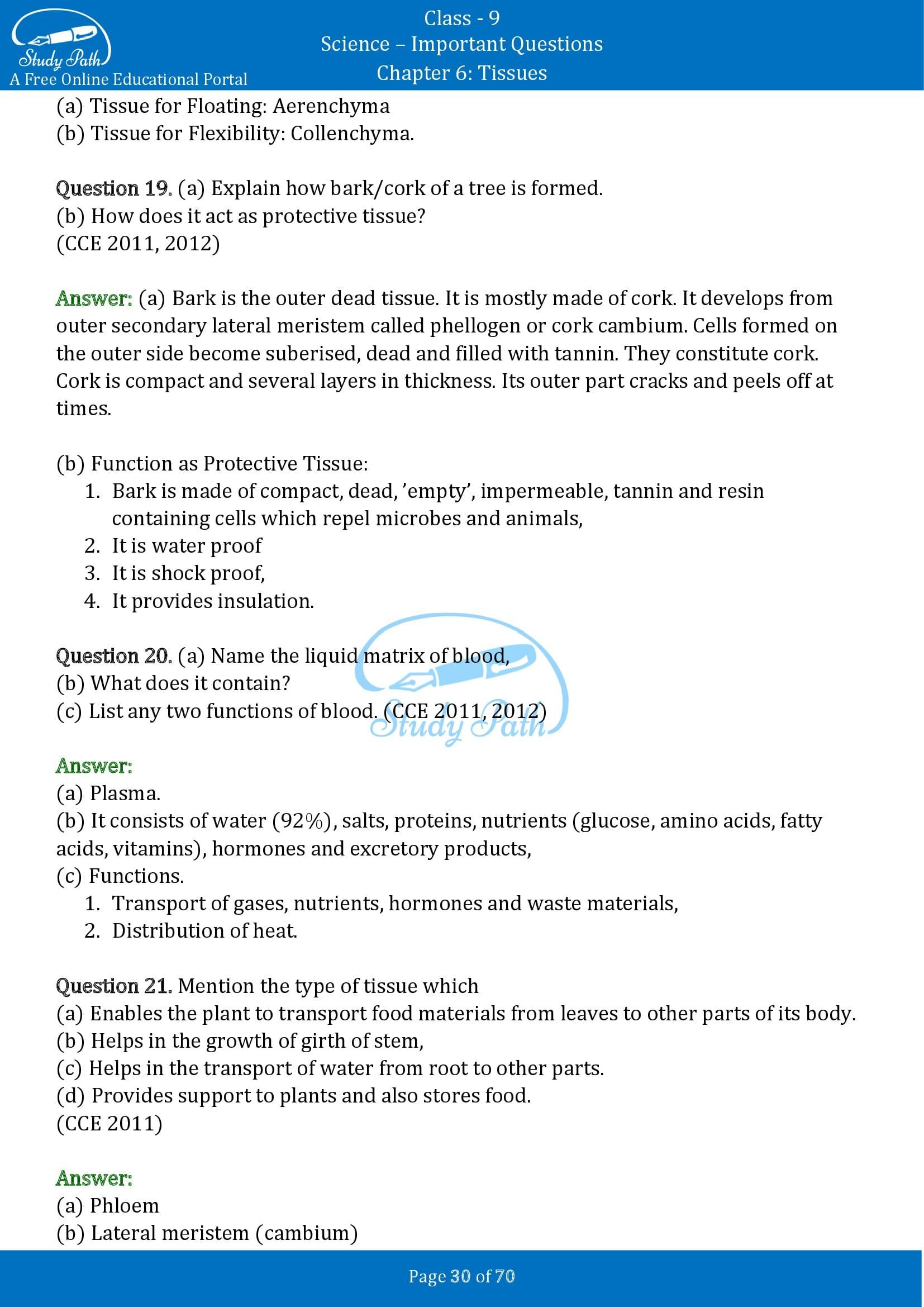 Important Questions for Class 9 Science Chapter 6 Tissues 00030