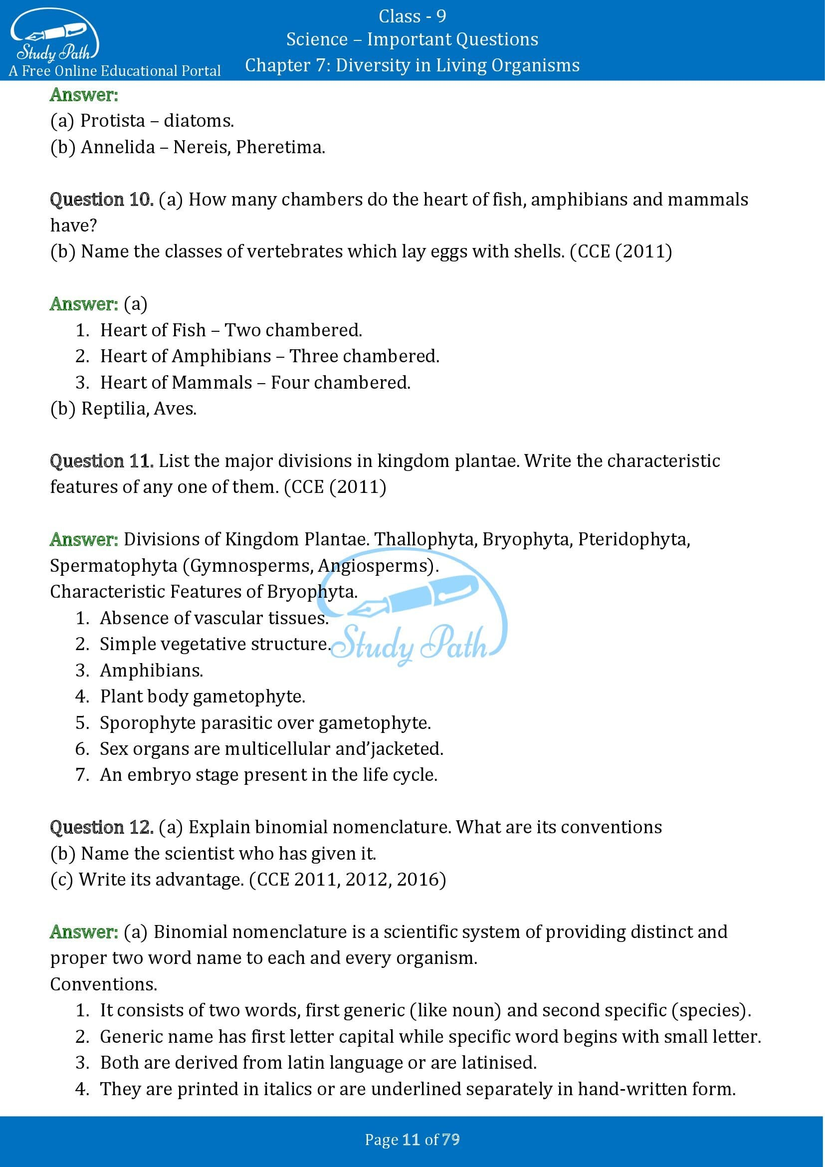 Important Questions for Class 9 Science Chapter 7 Diversity in Living Organisms 00011