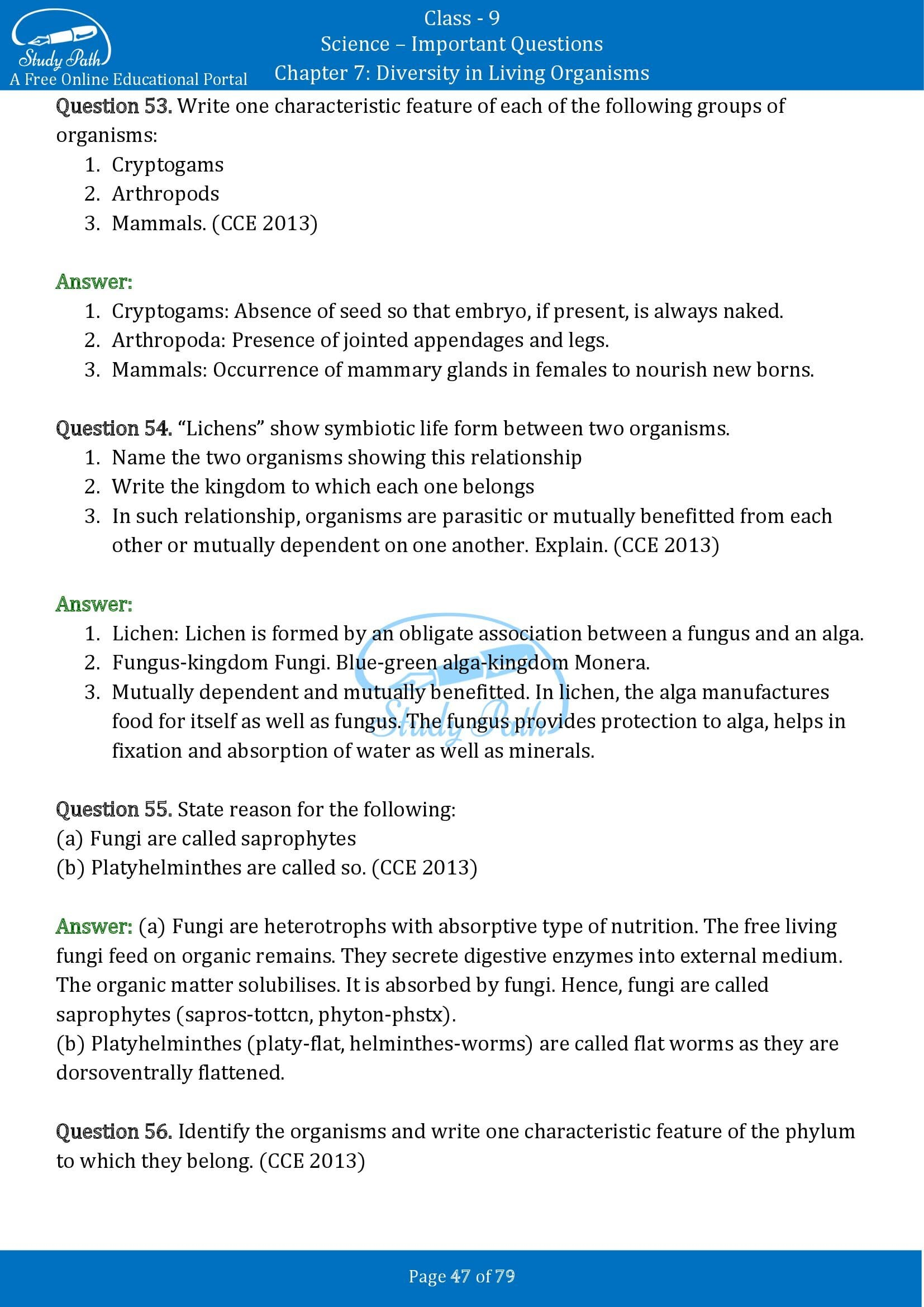 Important Questions for Class 9 Science Chapter 7 Diversity in Living Organisms 00047