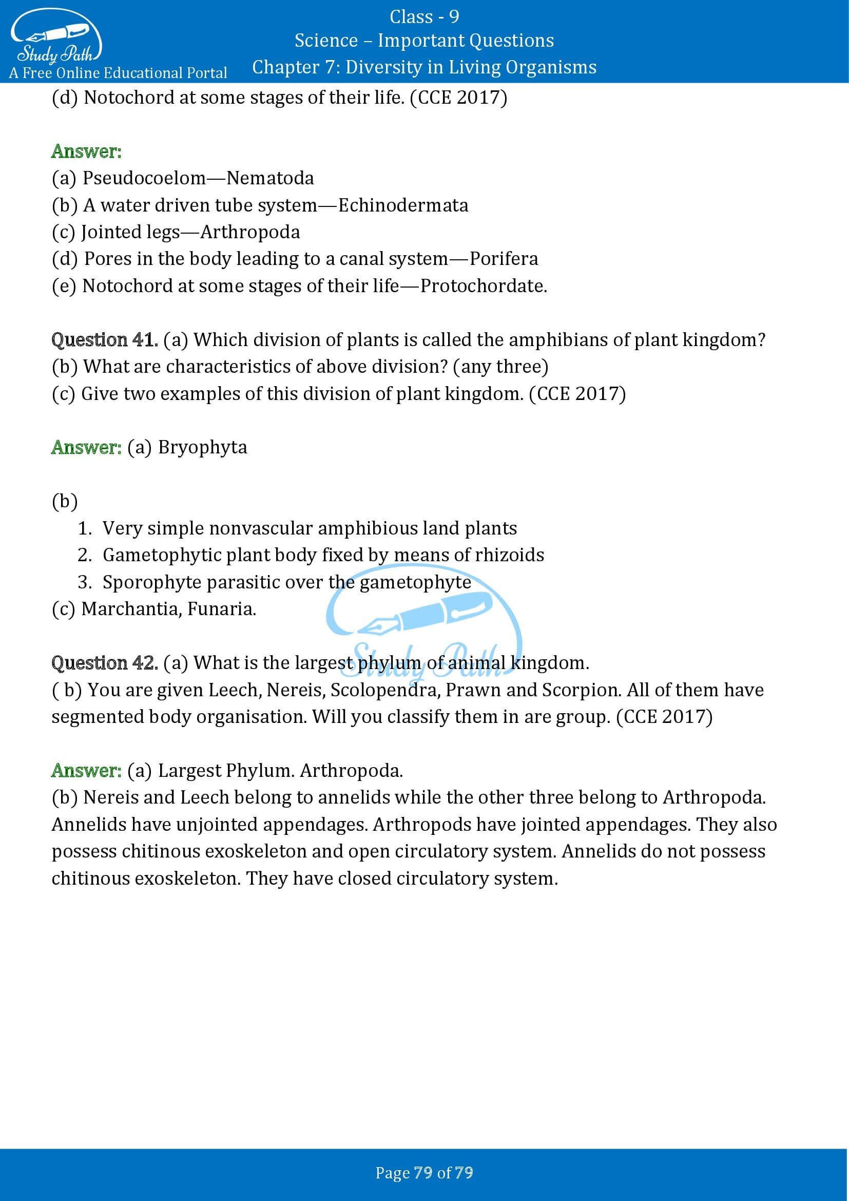 Important Questions for Class 9 Science Chapter 7 Diversity in Living Organisms 00079