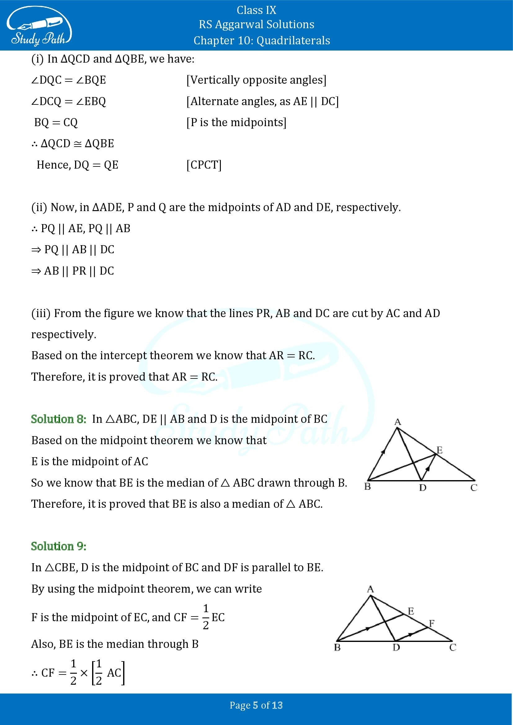 RS Aggarwal Solutions Class 9 Chapter 10 Quadrilaterals Exercise 10C 00005