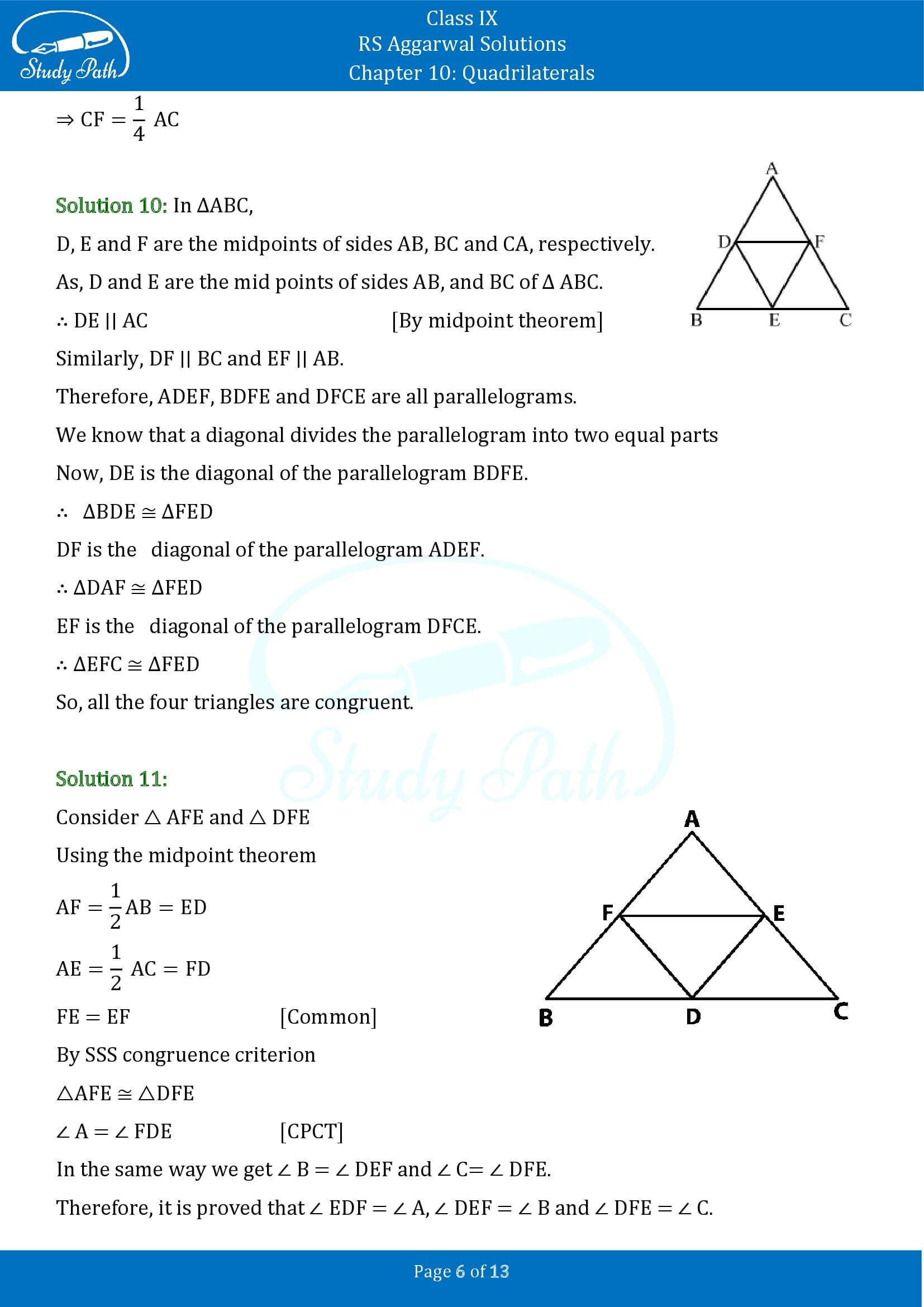 RS Aggarwal Solutions Class 9 Chapter 10 Quadrilaterals Exercise 10C 00006