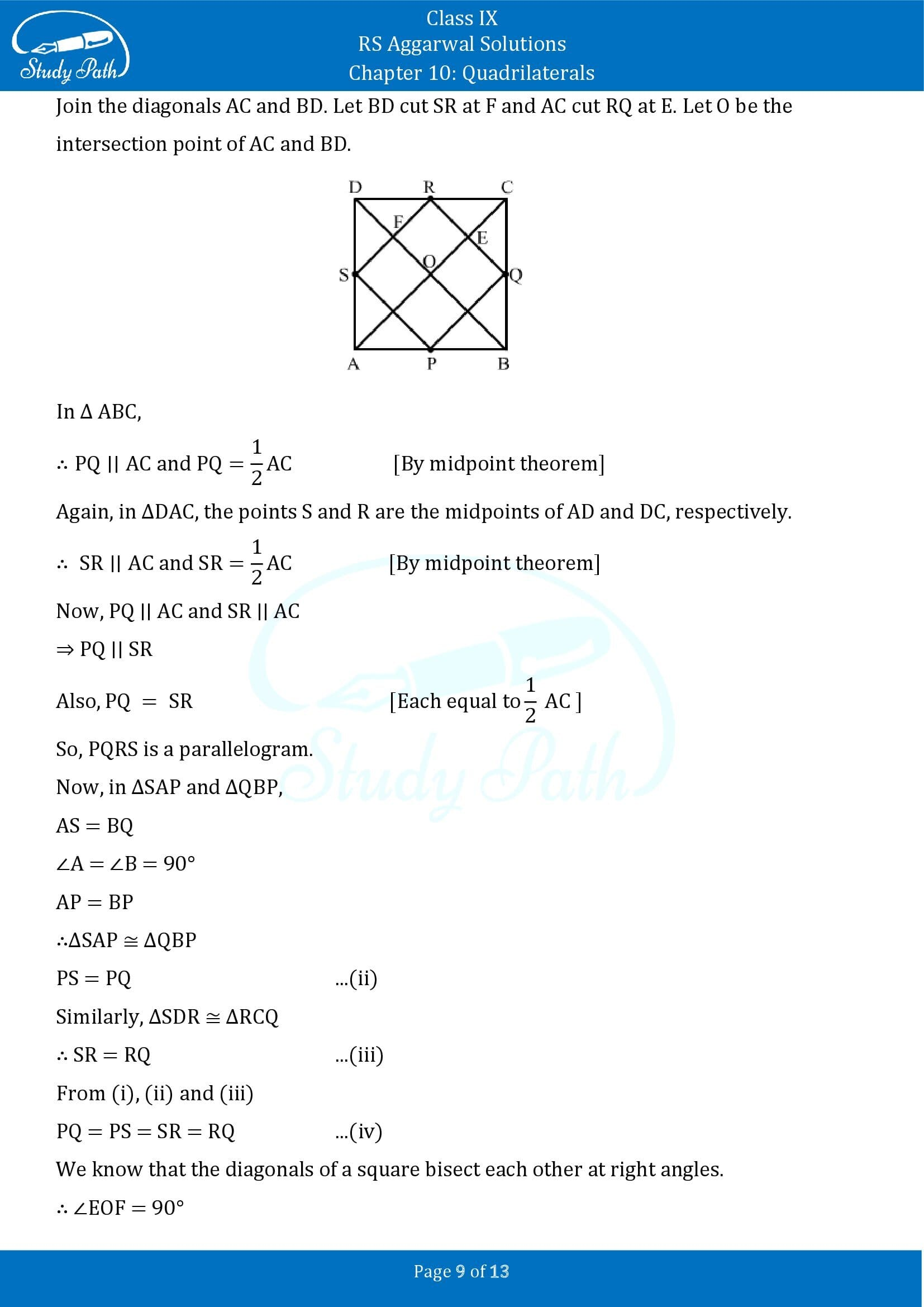 RS Aggarwal Solutions Class 9 Chapter 10 Quadrilaterals Exercise 10C 00009