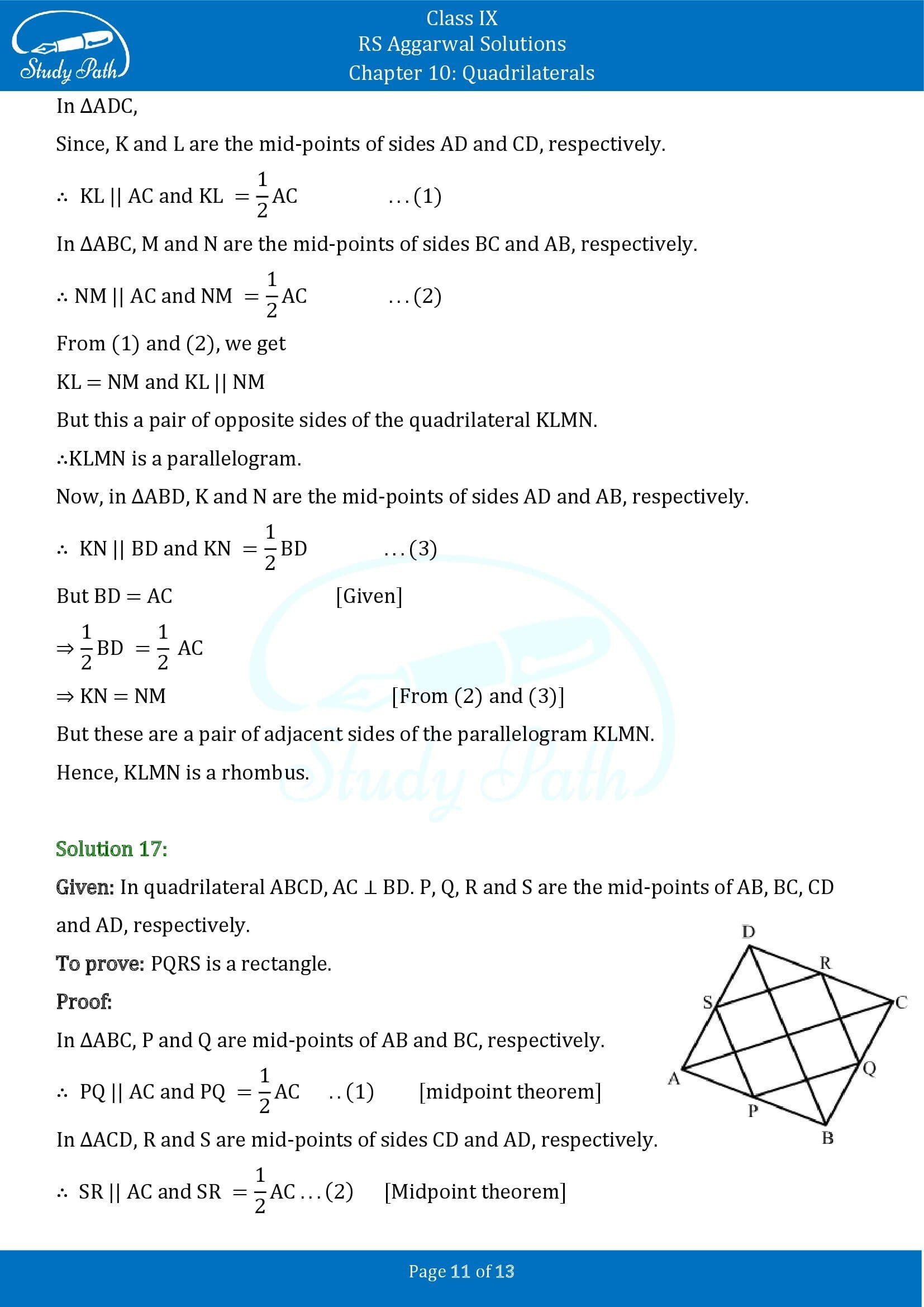 RS Aggarwal Solutions Class 9 Chapter 10 Quadrilaterals Exercise 10C 00011