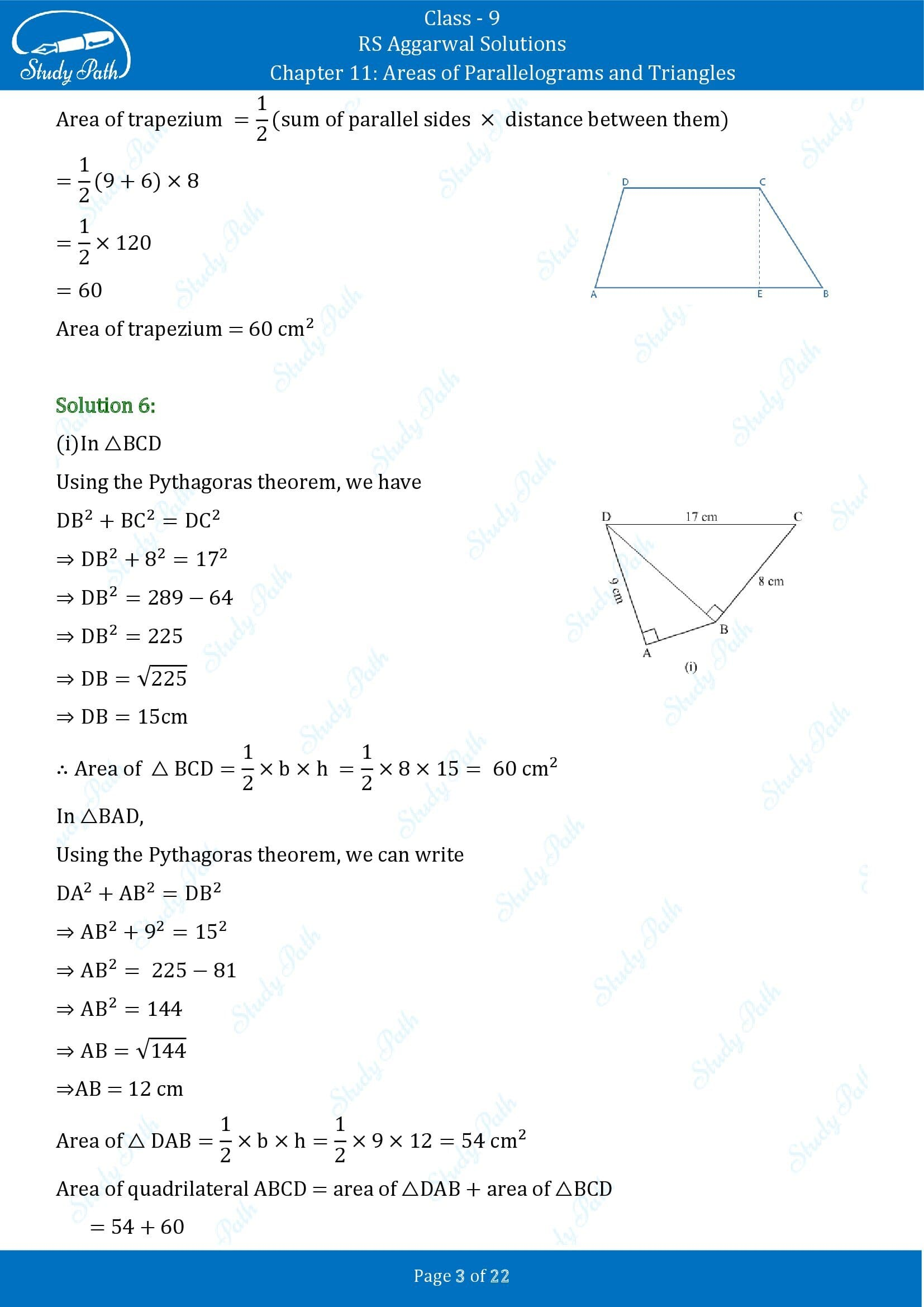 RS Aggarwal Solutions Class 9 Chapter 11 Areas of Parallelograms and Triangles Exercise 11 00003