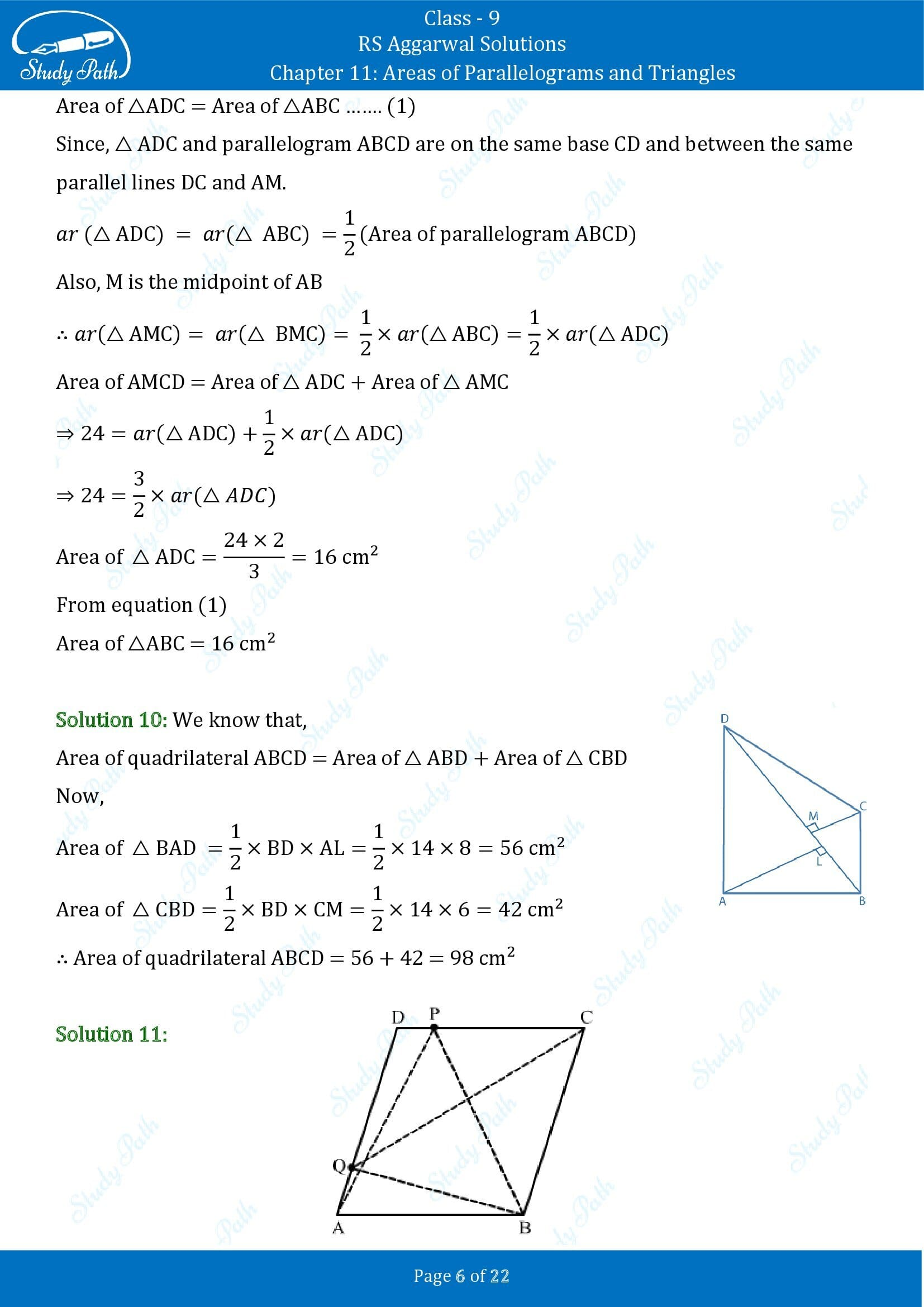 RS Aggarwal Solutions Class 9 Chapter 11 Areas of Parallelograms and Triangles Exercise 11 00006