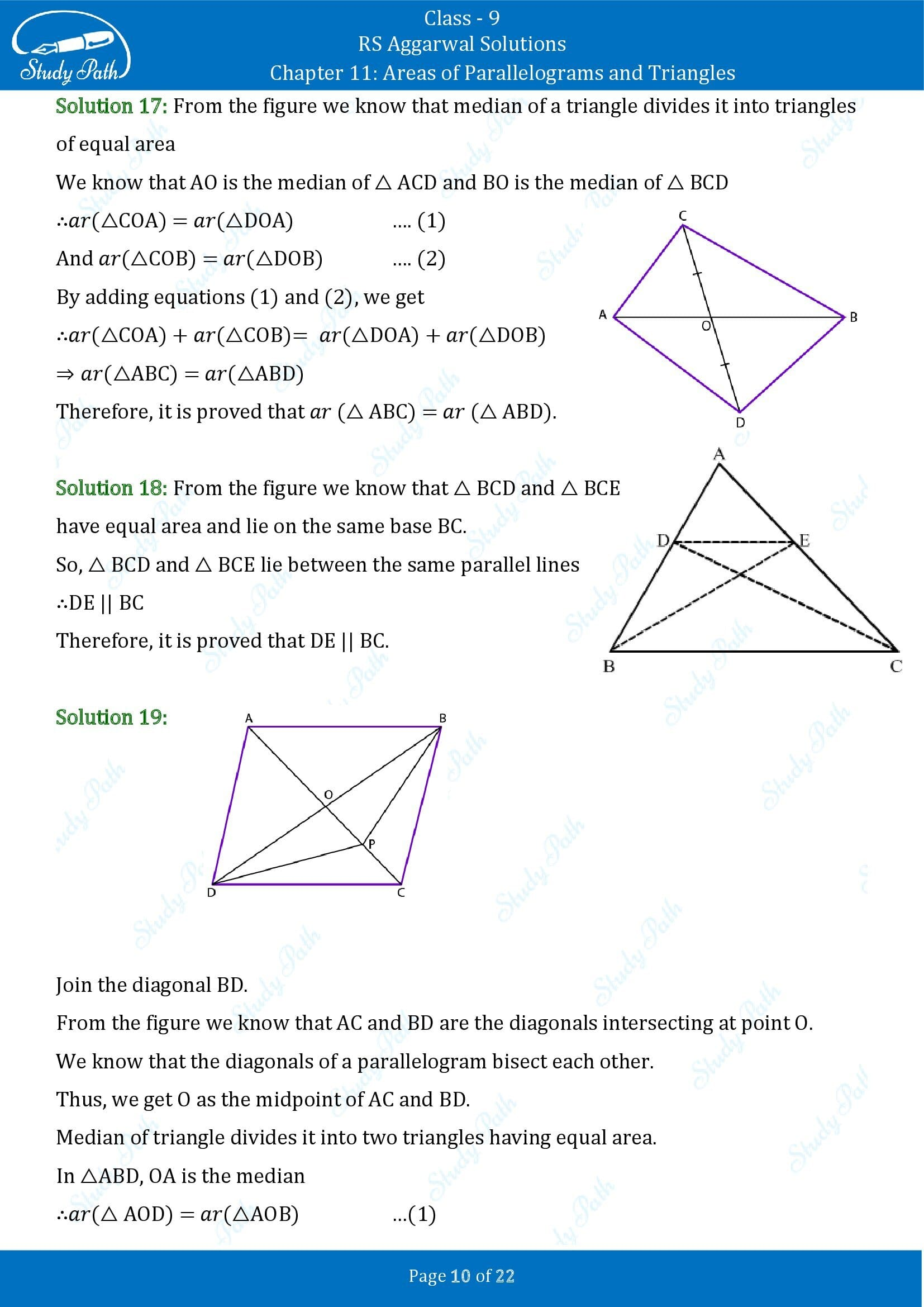 RS Aggarwal Solutions Class 9 Chapter 11 Areas of Parallelograms and Triangles Exercise 11 00010