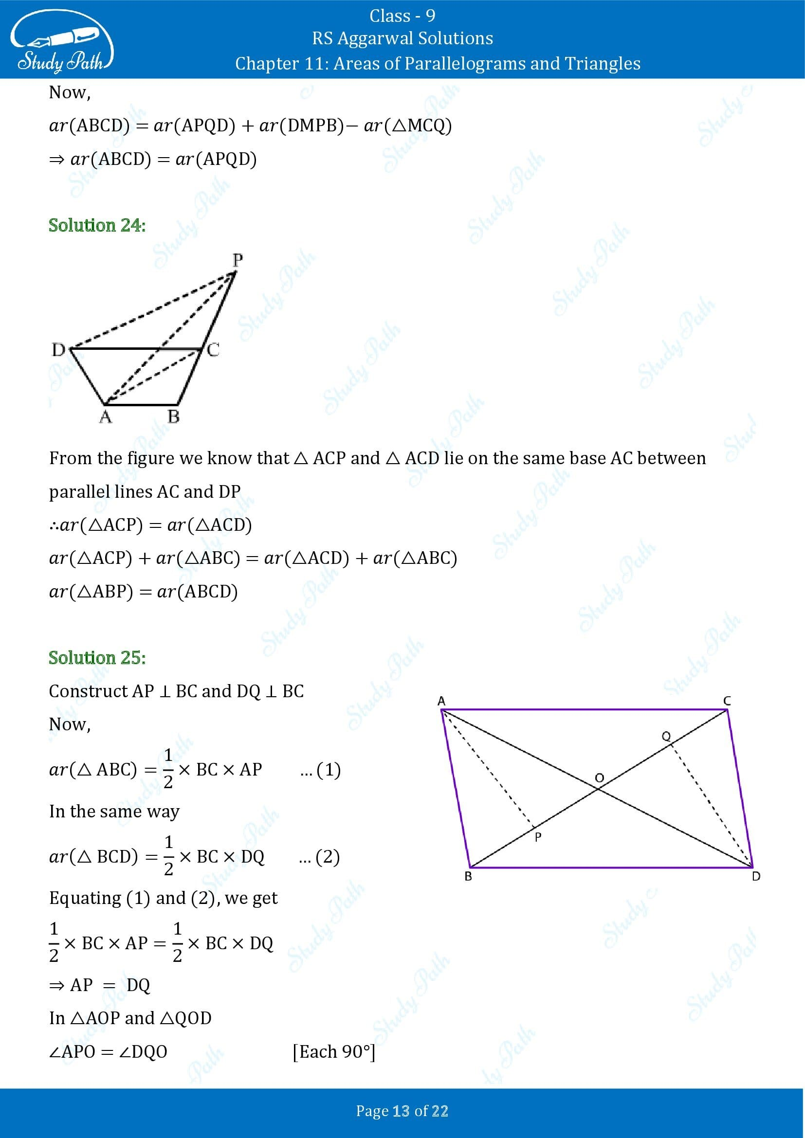 RS Aggarwal Solutions Class 9 Chapter 11 Areas of Parallelograms and Triangles Exercise 11 00013