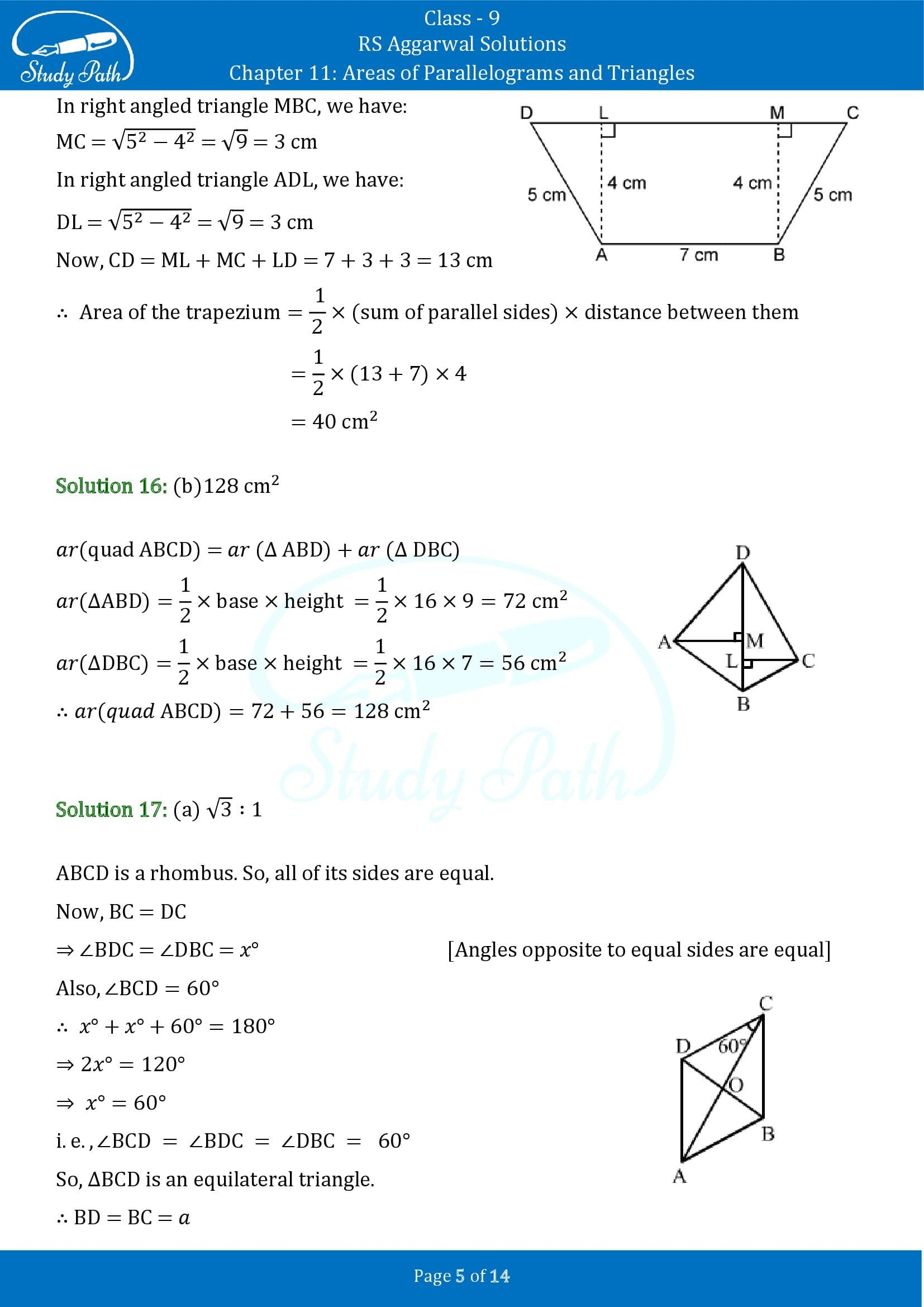 RS Aggarwal Solutions Class 9 Chapter 11 Areas of Parallelograms and Triangles Multiple Choice Questions MCQs 00005