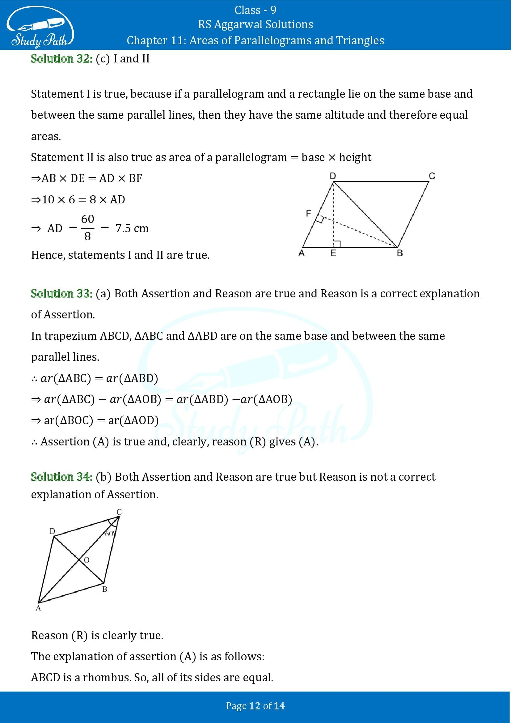 RS Aggarwal Solutions Class 9 Chapter 11 Areas of Parallelograms and Triangles Multiple Choice Questions MCQs 00012