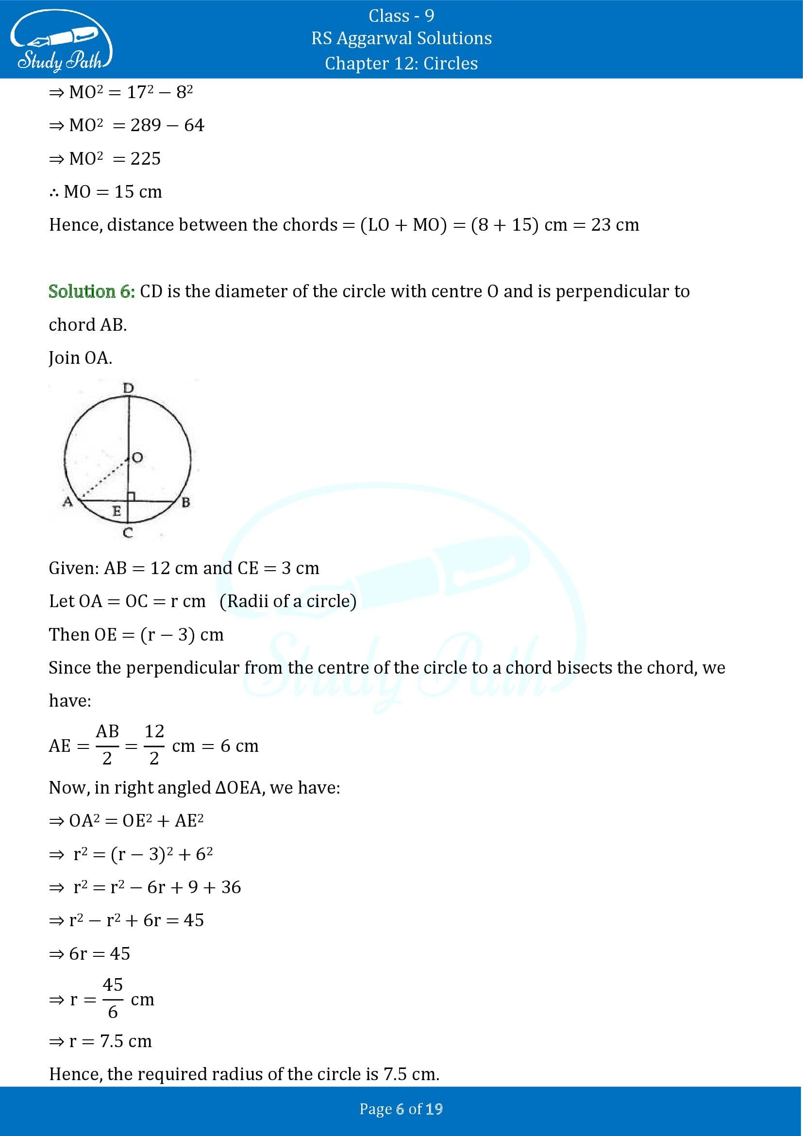 RS Aggarwal Solutions Class 9 Chapter 12 Circles Exercise 12A 00006
