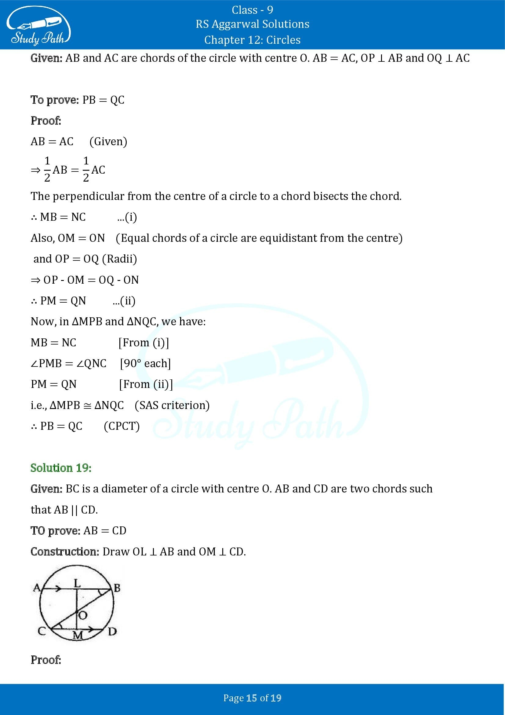 RS Aggarwal Solutions Class 9 Chapter 12 Circles Exercise 12A 00015